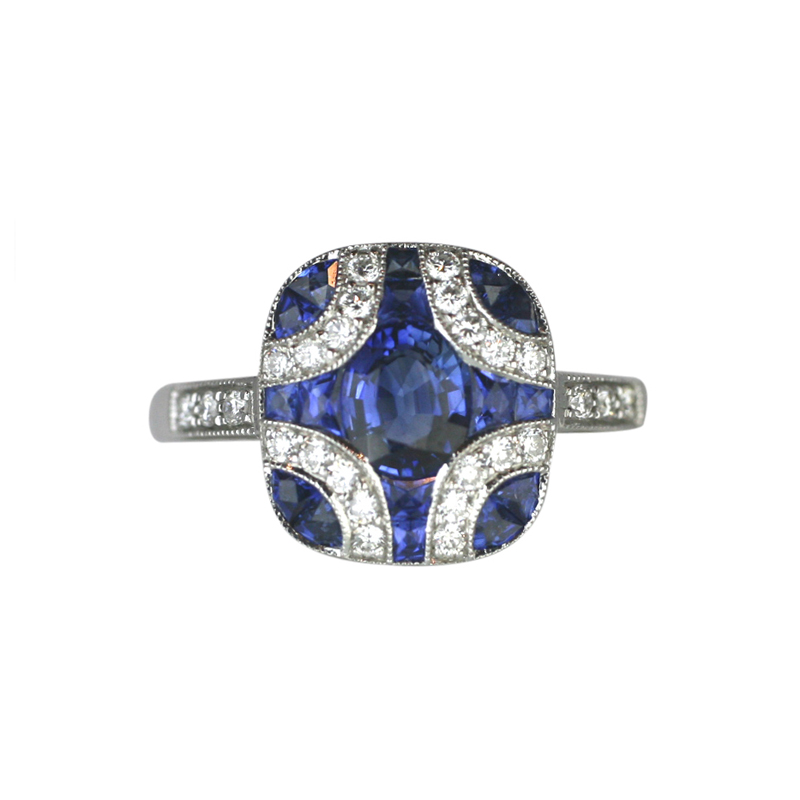18ct White Gold 1.79ct Sapphire 0.23ct Diamond Cluster Art Deco Ring