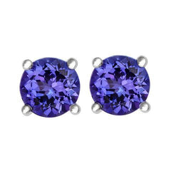 18ct White Gold 1.89ct Tanzanite Round Cut Stud Earrings
