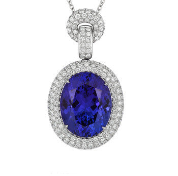 18ct White Gold 1.90ct Diamond 16.51ct Tanzanite Oval Cluster Necklace