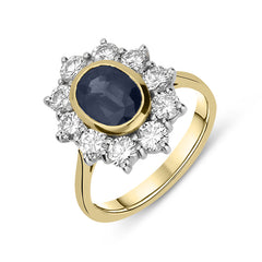 18ct White Gold 1.93ct Sapphire 1.38ct Diamond Cluster Ring
