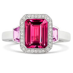 18ct White Gold 2.50ct Pink Tourmaline Pink Sapphire and Diamond Ring