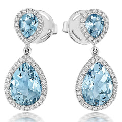 18ct White Gold 3.50ct Aquamarine Diamond Pear Cut Drop Earrings