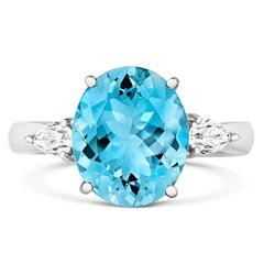 18ct White Gold 3.93ct Aquamarine Diamond Oval Cut Ring