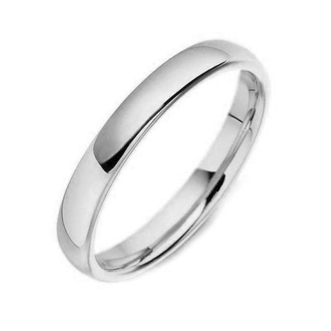 18ct White Gold 3mm Court Shaped Wedding Ring, CGN-050.