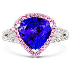 18ct White Gold 4.06ct Tanzanite Diamond and Pink Sapphire Ring