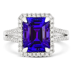 18ct White Gold 4.85ct Tanzanite Diamond Emerald Cut Ring