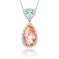 18ct White Gold 4.98ct Morganite and Aquamarine Necklace