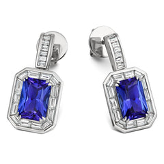 18ct White Gold 5.64ct Tanzanite Diamond Emerald Cut Earrings