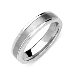 18ct White Gold 5mm Satin Finish Wedding Ring