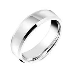 18ct White Gold 6mm Bevelled Edge Wedding Ring