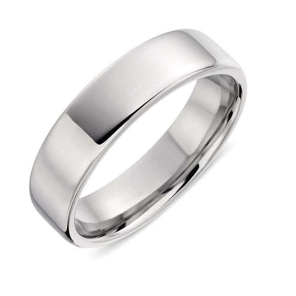 18ct White Gold 6mm Round Edge Wedding Ring, CGN-061.