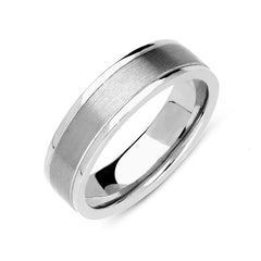 18ct White Gold 6mm Satin Finish Wedding Ring