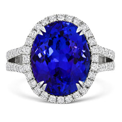18ct White Gold 8.44ct Tanzanite 0.78ct Diamond Large Oval Ring