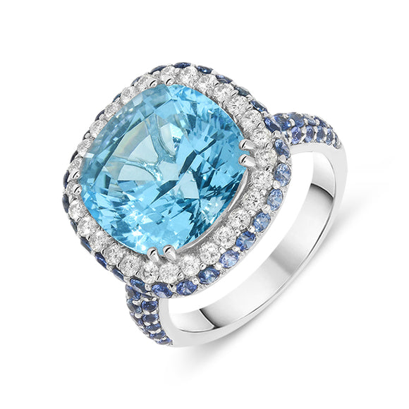 18ct White Gold 9.8ctct Topaz Sapphire and Diamond Ring PJW-214