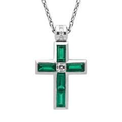 18ct White Gold Emerald and Diamond Cross Necklace