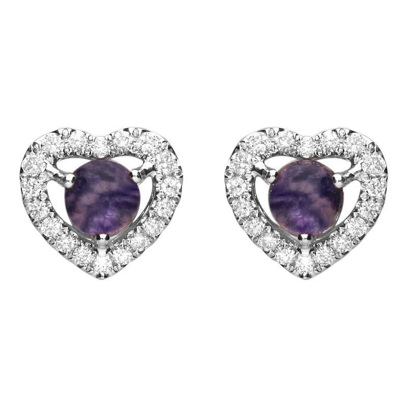 18ct White Gold Blue John 0.33ct Diamond Heart Stud Earrings