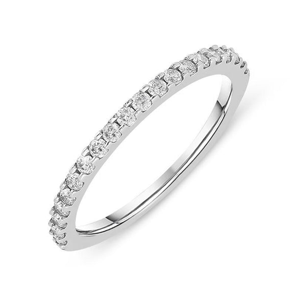 18ct White Gold 0.30ct Diamond 2.5mm Half Eternity Ring, CGN-119.