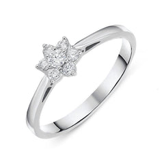 18ct White Gold 0.20cts Diamond Brilliant Cut Cluster Flower Ring