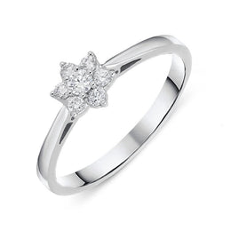 18ct White Gold Diamond Brilliant Cut Cluster Flower Ring. R946.