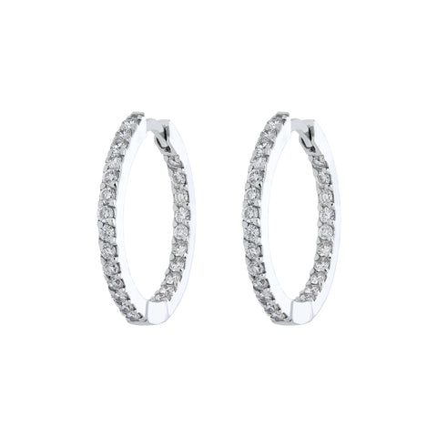 18ct White Gold Diamond Brilliant Cut Hoop Earrings
