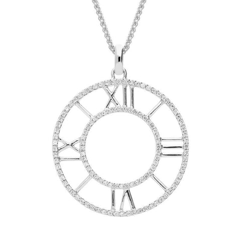 18ct White Gold Diamond Clock Face Necklace