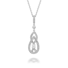 18ct White Gold Diamond Double Marquise Drop Necklace