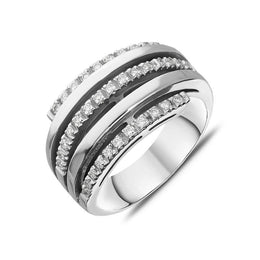 18ct White Gold Diamond Five Band Ring R236