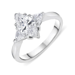 18ct White Gold Diamond Marquise Ring