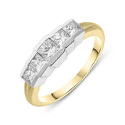 18ct White Gold Diamond Princess Cut Half Eternity Ring IT4141