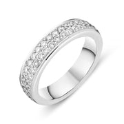 18ct White Gold Diamond Two Row Half Eternity Ring FJT-079