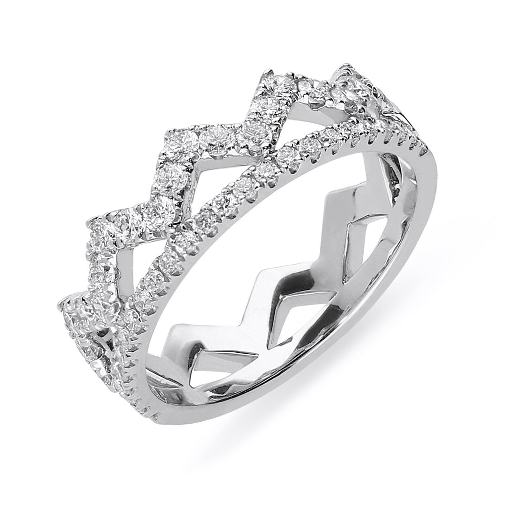 18ct White Gold 0.69ct Diamond Zigzag Stacking Ring