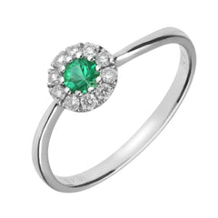 18ct White Gold Emerald Diamond Round Cluster Ring