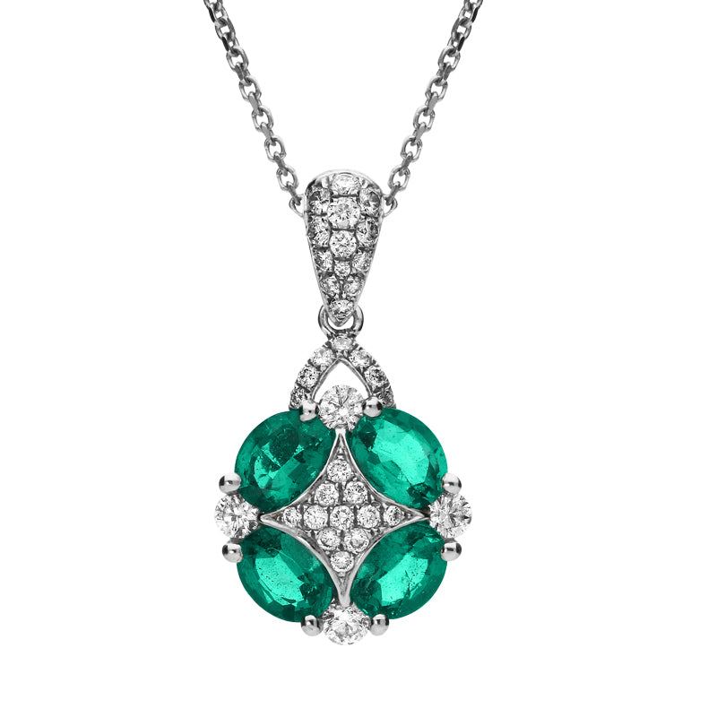 18ct White Gold Emerald and Diamond Necklace