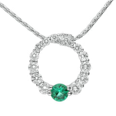 18ct White Gold Emerald and Diamond Open Circle Necklace
