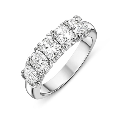 18ct White Gold Five Stone 1.76 Carat Diamond Half Eternity Ring