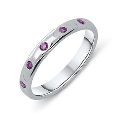 18ct White Gold Pink Sapphire Wedding Ring
