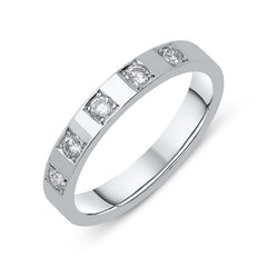 18ct White Gold Princess Cut 0.20ct Diamond Wedding Ring