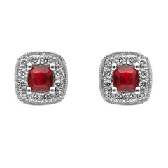 18ct White Gold Ruby and Diamond Cushion Stud Earrings
