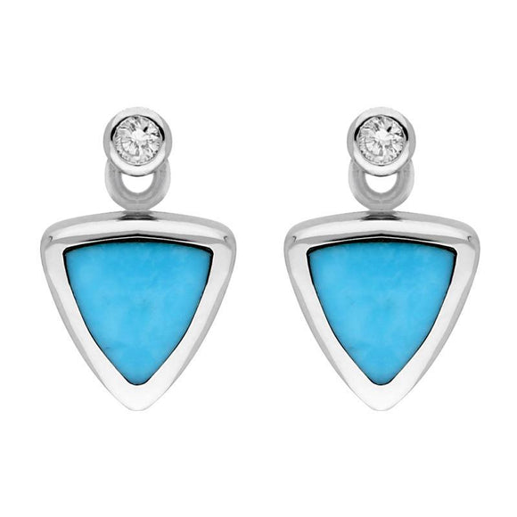 18ct White Gold Turquoise Diamond Triangle Stud Earrings E644