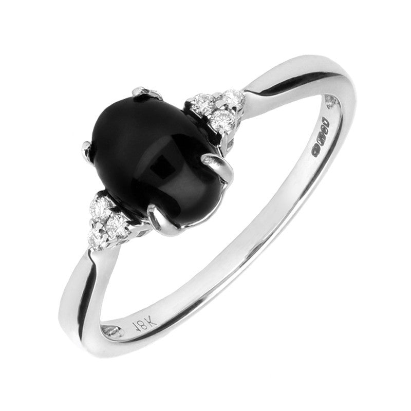 18ct White Gold Whitby Jet 0.07 Carat Diamond Oval Ring