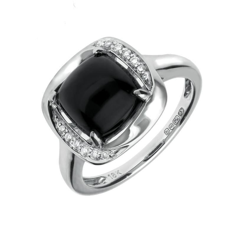 18ct White Gold 0.07ct Whitby Jet Diamond Ring