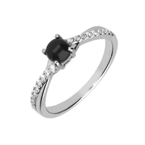 18ct White Gold Whitby Jet 0.13ct Diamond Twisted Shoulder Ring