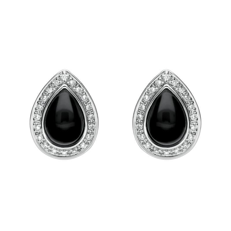 18ct White Gold Whitby Jet 0.16ct Diamond Pear Shaped Stud Earrings