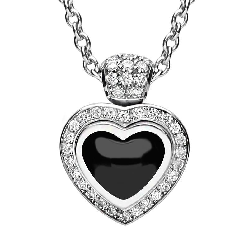 18ct White Gold Whitby Jet 0.22ct Diamond Heart Necklace