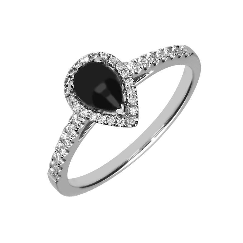 18ct White Gold Whitby Jet 0.25 Carat Diamond Pear Shoulder Ring