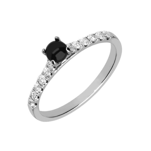 18ct White Gold Whitby Jet 0.27ct Diamond Shoulder Ring