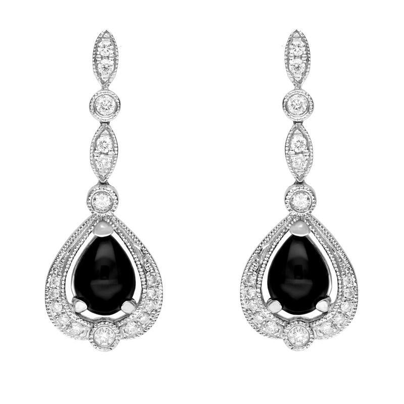 18ct White Gold Whitby Jet 0.31ct Diamond Pear Drop Earrings