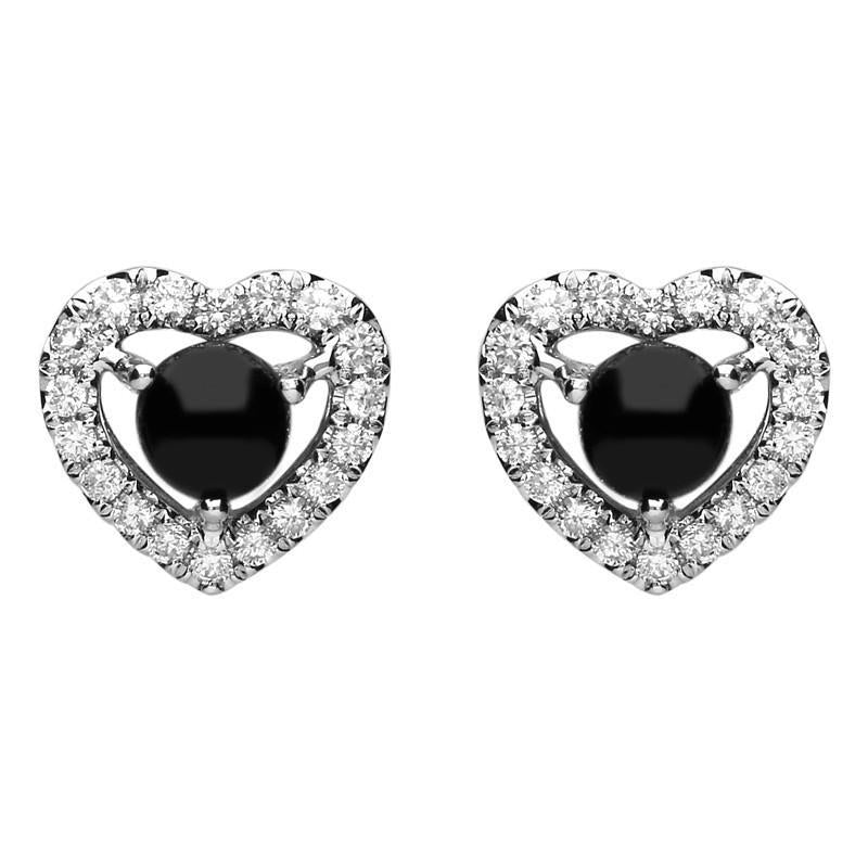 18ct White Gold Whitby Jet 0.33ct Diamond Heart Surround Stud Earrings