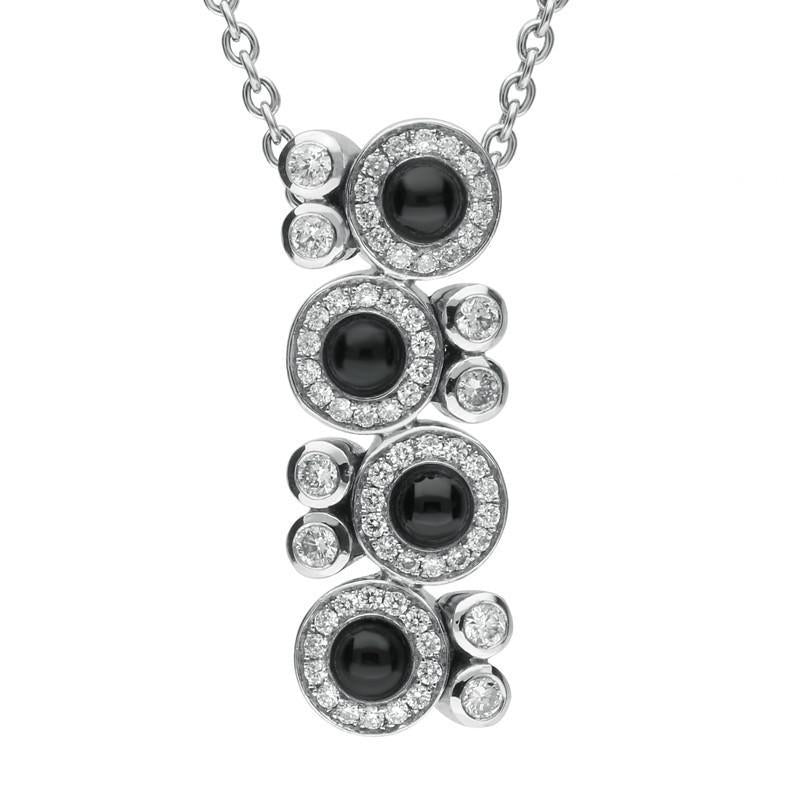 18ct White Gold Whitby Jet 0.50ct Diamond Cascade Necklace