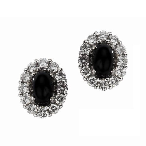 18ct White Gold Whitby Jet 0.55ct Diamond Oval Cluster Stud Earrings
